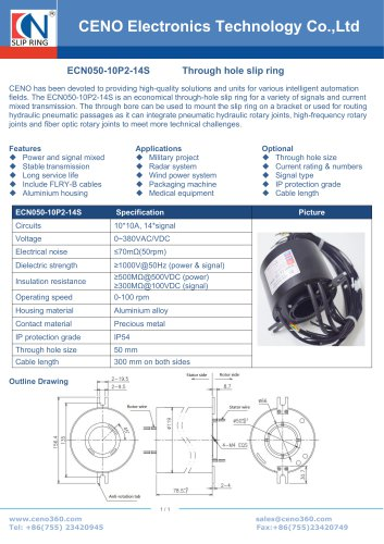 CENO Hollow shaft slip ring with hole 50mm ECN050-10P2-14S