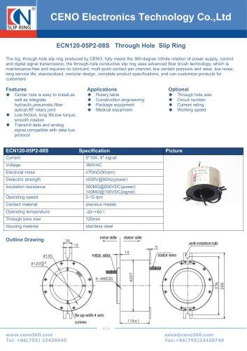 CENO Large hole size slip ring ECN120-05P2-08S