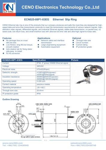 CENO Multi-channel Ethernet slip ring ECN025-08P1-03EG