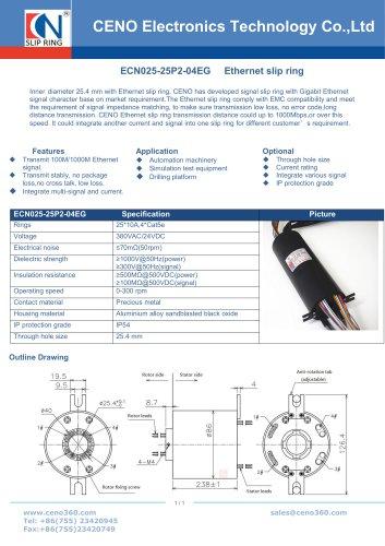 CENO Multi channel Ethernet slip ring ECN025-25P2-04EG