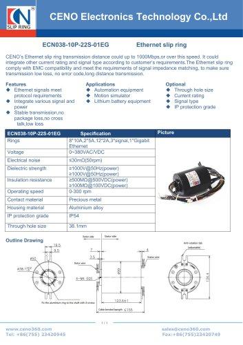 CENO Multi channel Ethernet slip ring ECN038-10P-22S-01EG