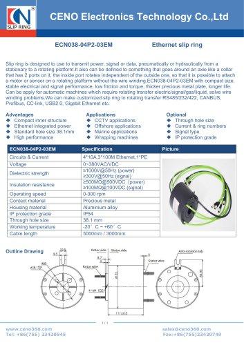 CENO multi-channel Ethernet slip rings ECN038-04P2-03EM