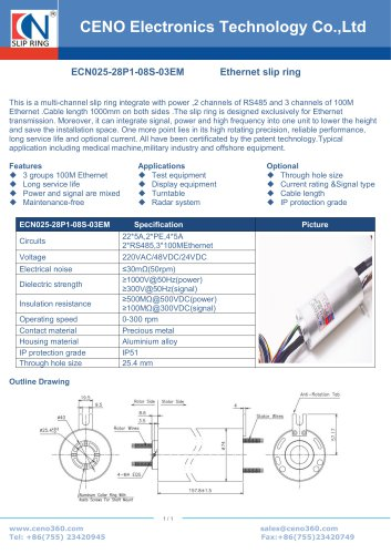 CENO Multi channel slip ring Gigabit RS485 ECN025-28P1-08S-03EM