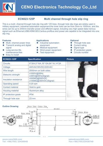 CENO Multi circuit through hole slip ring ECN023-125P