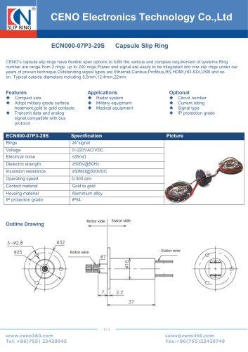 CENO Multi circuits slip ring ECN000-07P3-29S