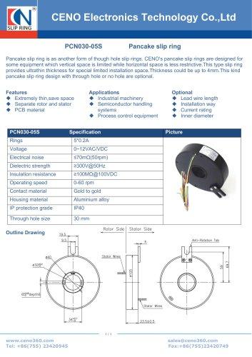 CENO Pancake slip ring with 5 circuits PCN030-05S