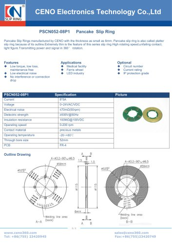 CENO PCB pancake slip ring PSCN052-08P1