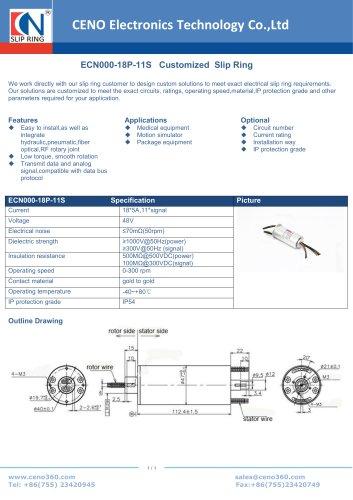 CENO Power integrte signal slip ring ECN000-18P-11S