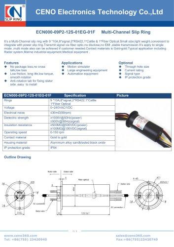 CENO Power slip ring with fiber optic channel ECN000-09P2-12S-01EG-01F
