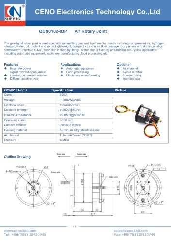 CENO QCN0102-03P Pneumatic rotary joint combine power slip ring QCN0102-03P