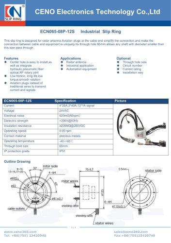 CENO Radar antenna slip ring with 65mm hole ECN065-08P-12S