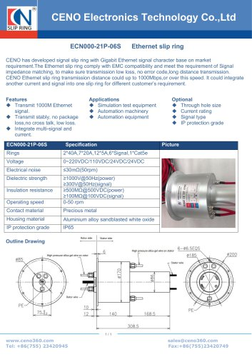 CENO Rotary joint with power and signal channel ECN000-21P-06S