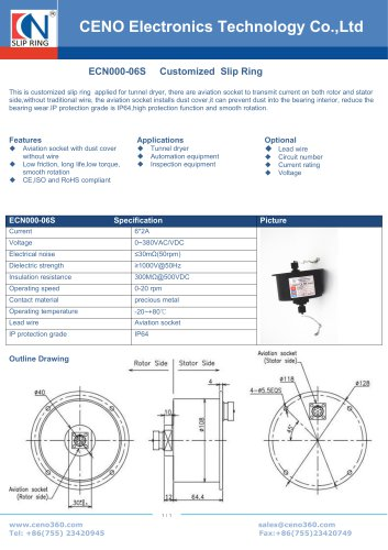 CENO Signal slip ring for Tunnel dryer ECN000-06S
