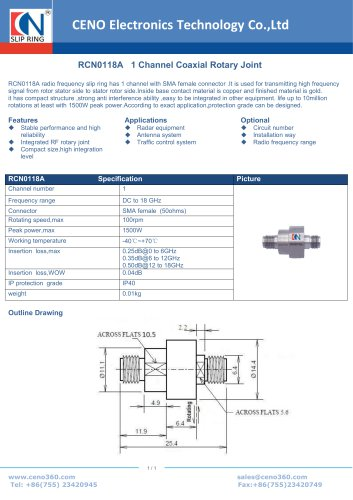 CENO Single Channel Coaxial Rotary Joint RCN0118A