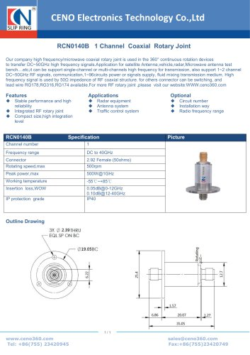 CENO Single Channel Coaxial Rotary Joint RCN0140B