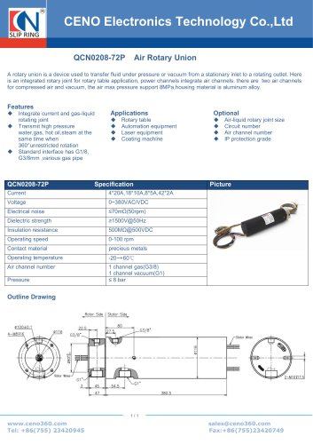 CENO slip ring for automatic rotary table QCN0208-72P