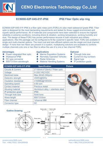 CENO Slip ring fiber optic channel combine power channel ECN000-02P-04S-01F-IP66