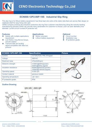 CENO Slip ring for Lithium battery machine ECN000-12P2-06P-18S