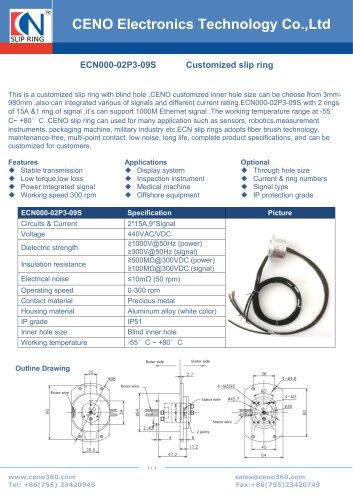 CENO Sliprings with blind inner hole ECN000-02P3-09S