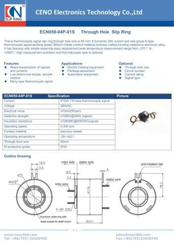 CENO Thermocouple signal slip ring with hole 50mm ECN050-04P-01S