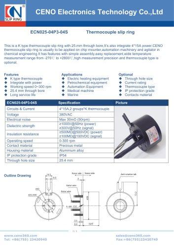 CENO Thermocouple slip ring ECN025-03P2-02EG