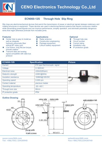 CENO Thermocouple slip ring ECN060-12S