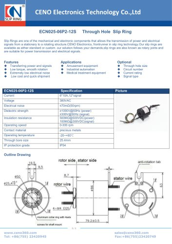 CENO Through bore slip ring with 25.4mm hole ECN025-06P2-12S