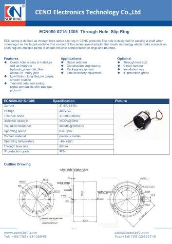 CENO Through bore slip ring 80mm hole ECN080-0215-1305