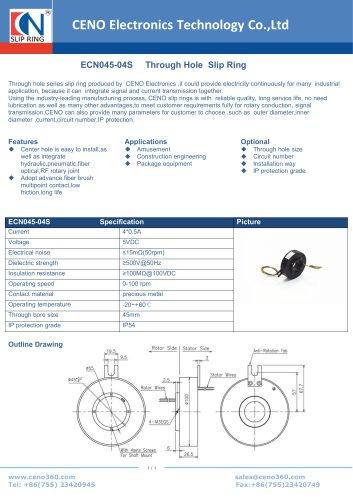 CENO Through bore slip ring ECN045-04S