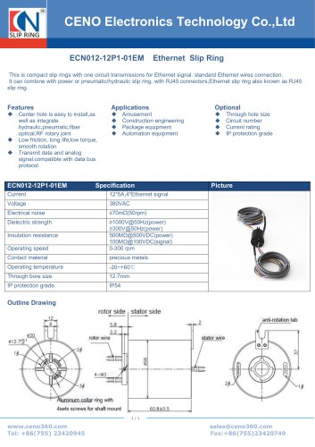 CENO Through hole slip ring with 100M Ethernet ECN012-12P1-01EM