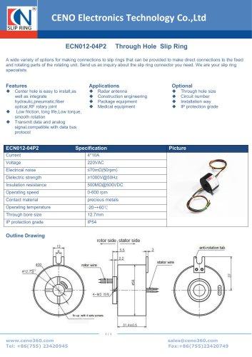 CENO Through hole slip ring ECN012-04P2