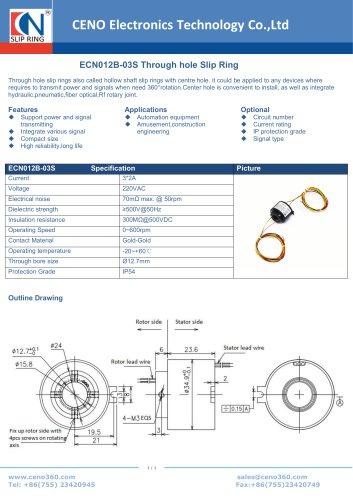 CENO Through hole slip ring ECN012B-03S