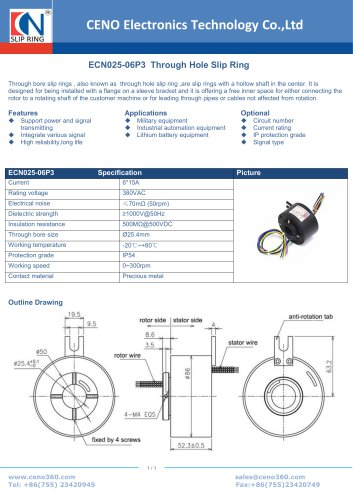 CENO  Through Hole Slip Ring ECN025-06P3