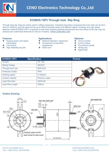 CENO Through hole slip ring ECN025-15P3