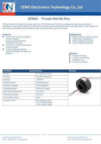 CENO Through Hole Slip Ring ECN025