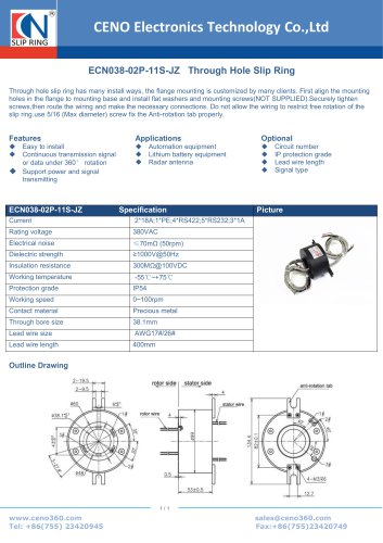 CENO Through hole slip ring ECN038-02P-11S-JZ