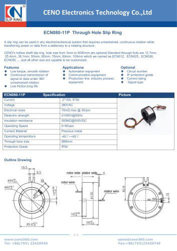 CENO Through Hole Slip Ring ECN080-11P