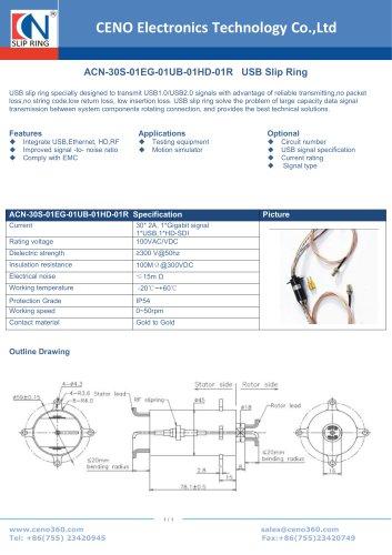 CENO USB slip ring ACN-30S-01EG-01UB-01HD-01R