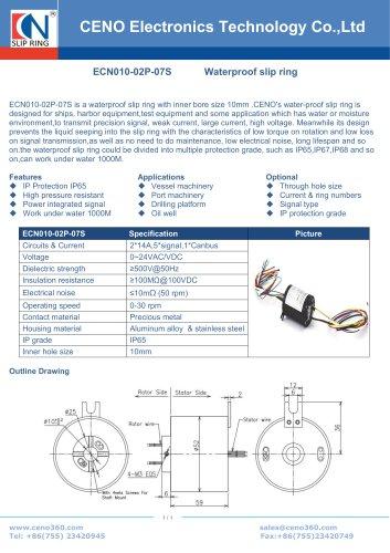 CENO Waterproof CANBus hollow shaft slipring ECN010-02P-07S