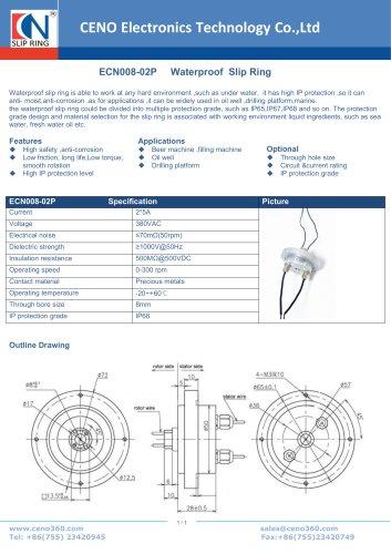 CENO Waterproof Slip Ring ECN008-02P