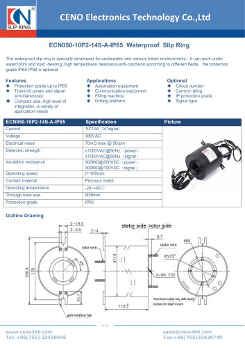 CENO Waterproof Slip Ring ECN050-10P2-14S-A-IP65