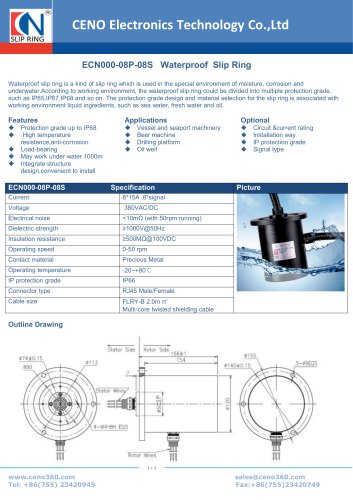 CENO Waterproof slip ring IP66 ECN000-08P-08S