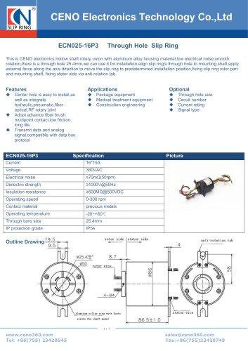 ECN025-16P3 Through Hole Slip Ring