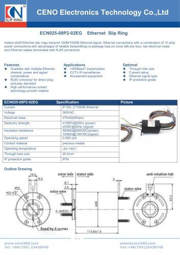 Gigabit slip ring with 25.4mm through hole ECN025-08P2-02EG