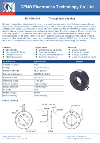 Slip ring with through bore 66mm ECN066-01S