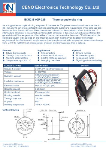 Through bore collector with K type thermocouple signal ECN038-02P-02S