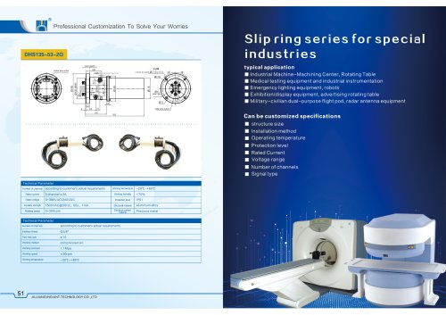 Special customized slip ring