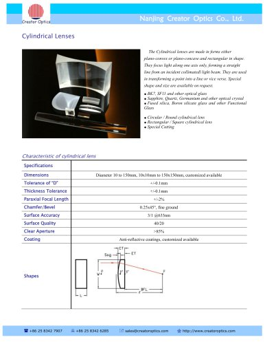 CreatorOptics custom Cylindrical Lenses, BK7, UV Fused Silica