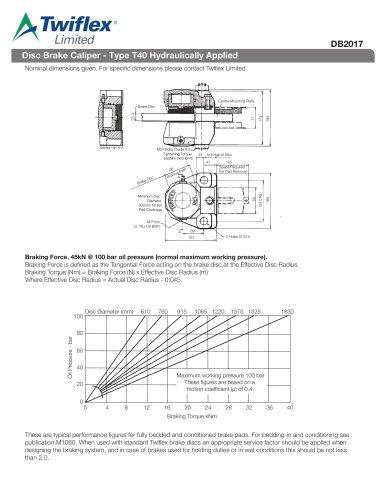 DB2017 Disc Brake Caliper - Type T40 Hydraulically Applied