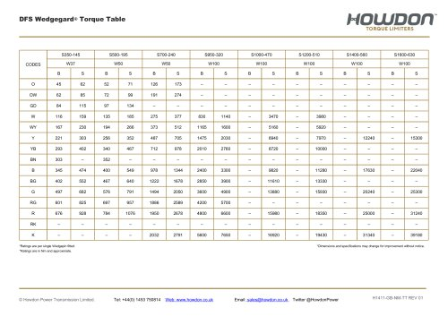 DFS Type Coupling Torque Table (Nm)
